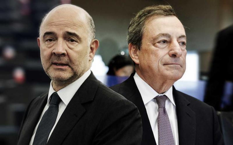 Jean Pierre Moscovici e Mario Draghi