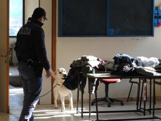 polizia nelle scuole con cane antidroga