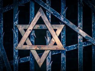 Stella di Davide sul memoriale ebreo, campo di concentramento di Dachau