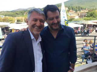 Valerio Mancini con il segretario della Lega Salvini